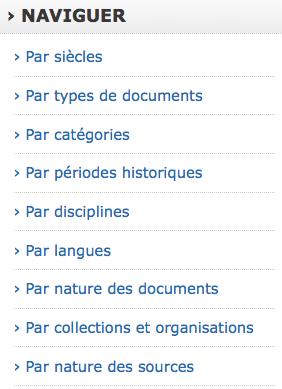 """Liste des """"facettes"""" permettant de naviguer dans les ressources"""